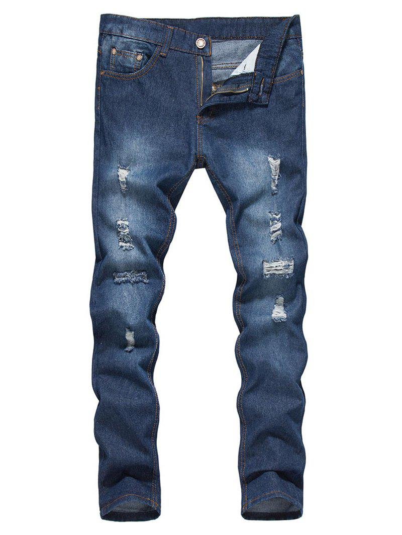 Outfits Straight Leg Bleached Effect Distressed Jeans