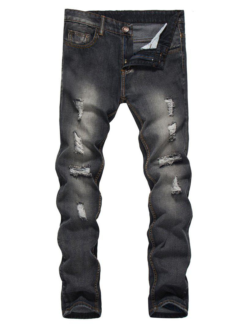 Outfit Straight Leg Bleached Effect Distressed Jeans