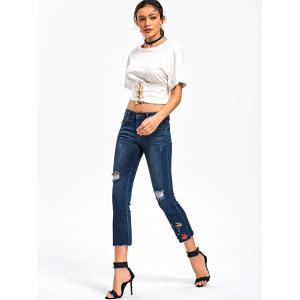 Ripped Embroidery Capri Jeans - BLUE L