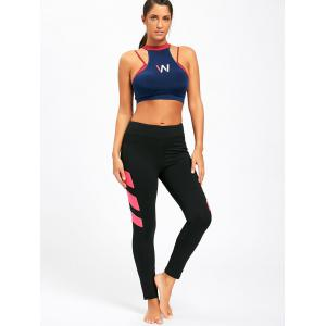 Contrast Stretch High Waist Fitness Leggings -