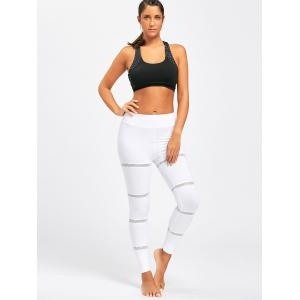 Openwork  Midi Waist Yoga Mesh Panel Leggings - WHITE S