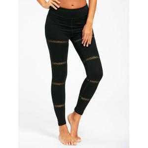 Openwork  Midi Waist Yoga Mesh Panel Leggings - BLACK XL