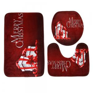 3Pcs Christmas Gift Print Bath Toilet Rugs Set - DARK RED