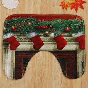 3Pcs Christmas Fireplace Socks Bath Toilet Mats Set -