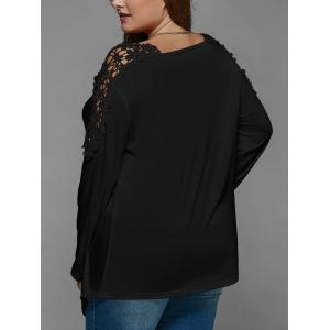 Plus Size Lace Insert Long Sleeve Tunic T-Shirt - BLACK 5XL