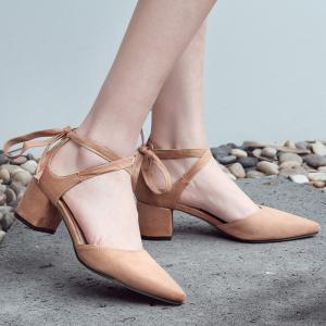 Ankle Strap Two Pieces Pointed Toe Pumps -