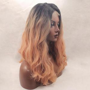 Long Middle Part Ombre Fluffy Loose Wave Synthetic Lace Front Wig -