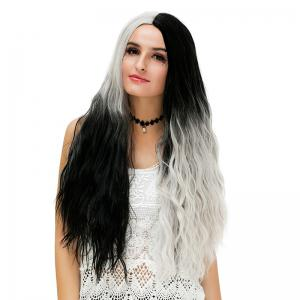 Long Middle Two Tone Natural Wavy Ombre Synthetic Party Wig -
