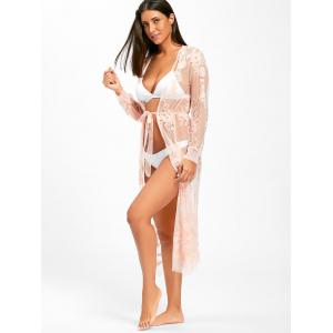Wrap Lace Cover Up Dress - PINK L