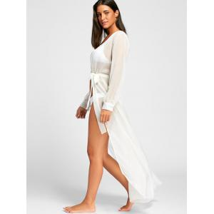 Flowy Maxi Wrap Cover Up Dress - WHITE S