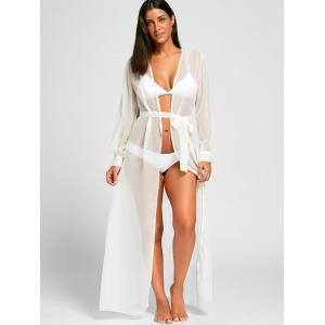 Flowy Maxi Wrap Cover Up Dress - Blanc M