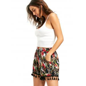 Tropical Floral Beach Shorts with Tassel - COLORMIX L
