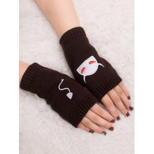 Halloween Devil Embroidery Exposed Finger Knitted Gloves - COFFEE