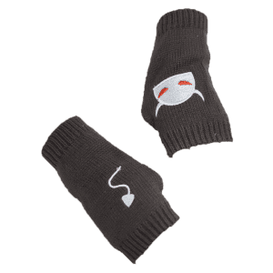 Halloween Devil Embroidery Exposed Finger Knitted Gloves - DEEP GRAY