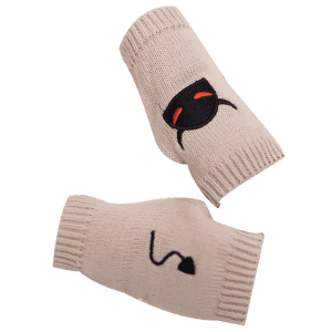 Halloween Devil Embroidery Exposed Finger Knitted Gloves - BEIGE