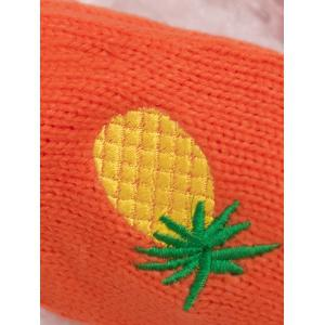Halloween Pineapple Embroidery Exposed Finger Knitted Gloves - BEIGE