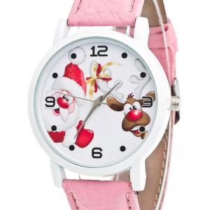 Christmas Santa Deer Face Quartz Watch - PINK