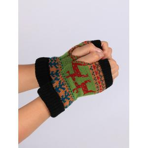 Christmas Deer Decorated Flanging Fingerless Gloves -