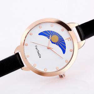 Faux Leather Strap F Letter Analog Watch -