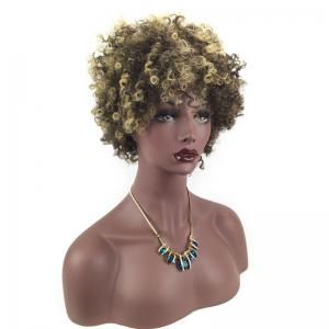 Short Side Bang Colormix Fluffy Afro Curly Synthetic Wig -
