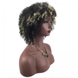 Short Side Bang Spaghetti Shaggy Afro Curly Synthetic Wig -