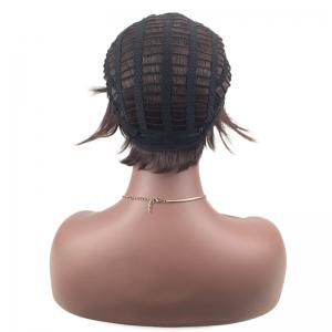 Short Inclined Fringe Layered Straight Synthetic Wig -