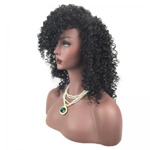 Side Fringe Shaggy Medium Afro Curly Synthetic Wig - BLACK