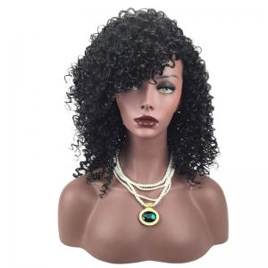 Side Fringe Shaggy Medium Afro Curly perruque synthétique - Noir