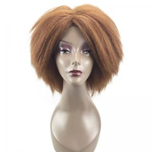 Medium Center Parting Fluffy Kinky Straight Synthetic Wig - GOLD BROWN