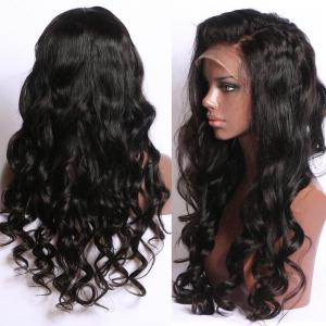 Long Free Part Fluffy Body Wave Synthetic Lace Front Wig -