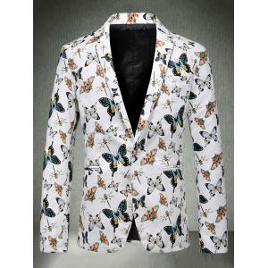 Butterfly Print One Button Faux Leather Blazer - WHITE 2XL
