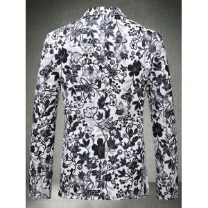 Lapel One Button Floral Faux Leather Blazer - Blanc 2XL