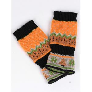 Christmas Tree Crochet Knitted Exposed Finger Gloves - BLACK