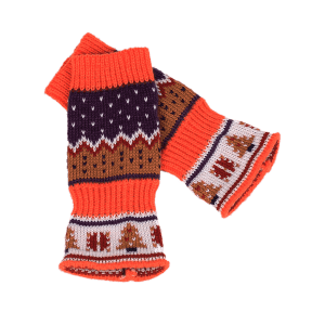 Christmas Tree Crochet Knitted Exposed Finger Gloves - MANDARIN
