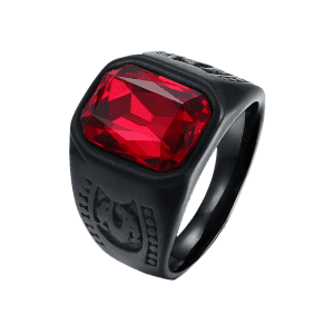 Vintage Alloy Faux Ruby Geometric Finger Ring - BLACK 7