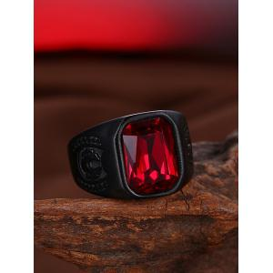 Vintage Alloy Faux Ruby Geometric Finger Ring - BLACK 8