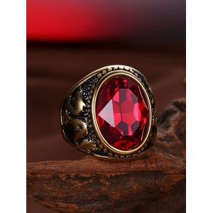 Faux Ruby Engraved Dragon Oval Vintage Ring - GOLDEN 7
