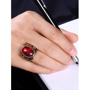 Faux Ruby Engraved Dragon Oval Vintage Ring - Or 8