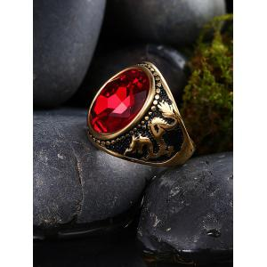 Faux Ruby Engraved Dragon Oval Vintage Ring - Or 9