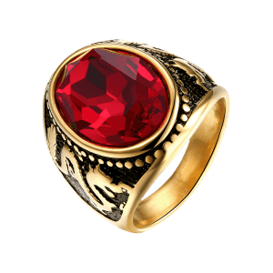 Faux Ruby Engraved Dragon Oval Vintage Ring - Or 10