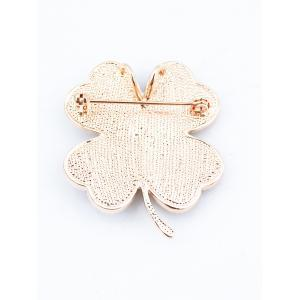 Rhinestoned Love Heart Clover Brooch -