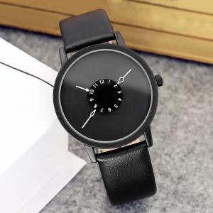 Faux Leather Strap Number Round Watch -
