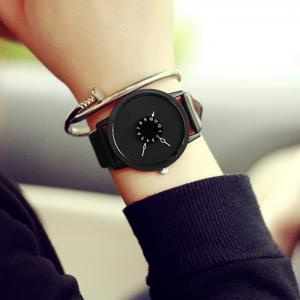 Faux Leather Strap Number Round Watch - BLACK