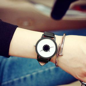 Faux Leather Strap Number Round Watch - BLACK WHITE