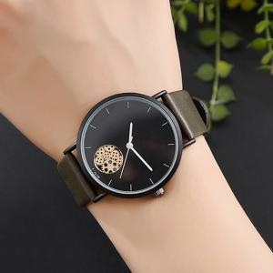 Faux Leather Strap Gear Pattern Quartz Watch -