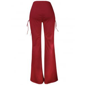 Lace Up Boot Cut Pants - RED S