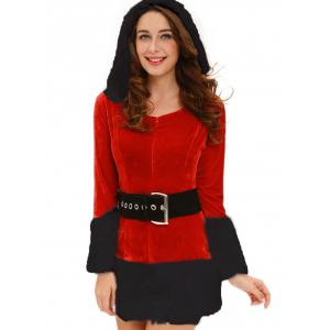 Christmas Costume with Faux Fur Trim - RED ONE SIZE