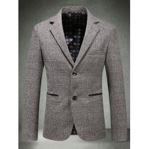 Casual Lapel Single Breasted Plaid Blazer - KHAKI M