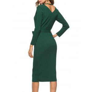 V Neck Bowknot Belt Knit Dress - GREEN XL