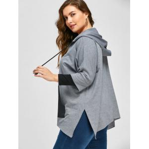 Plus Size Kangaroo Pocket Side Split Hoodie -